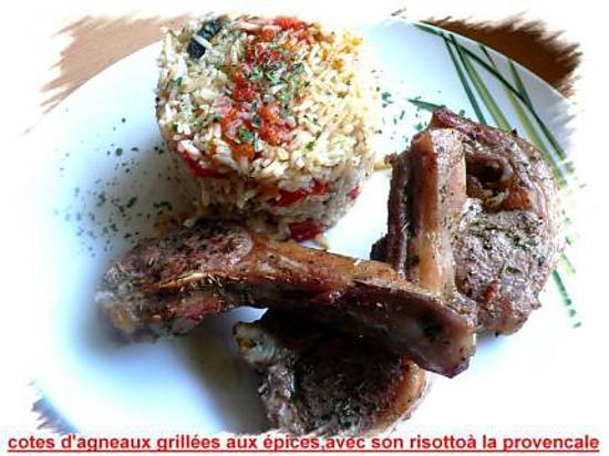 recette Cotes d'agneaux grillées aux épices avec son risotto à la provençale