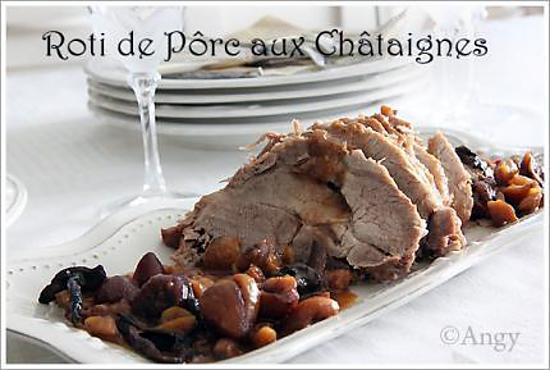 Recette de Rôti de porc aux châtaignes, miel ,cêpes on