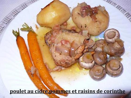 recette poulet au cidre, pommes et raisins de corinthe