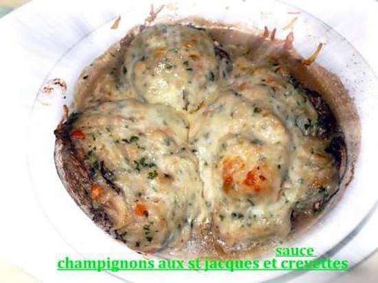 recette champignons aux st jacques sauce crevettes