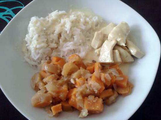 Recette de poulet curry avec po l e de pommes et de patates douces - Recette poulet patate douce ...