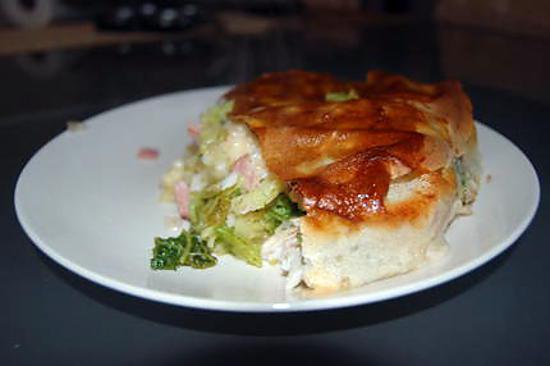 recette Tourte au Chou, Bacon et Cabillaud