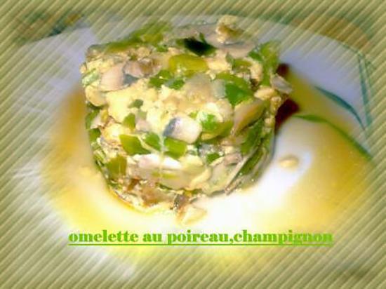 recette omelette au poireau,champignon