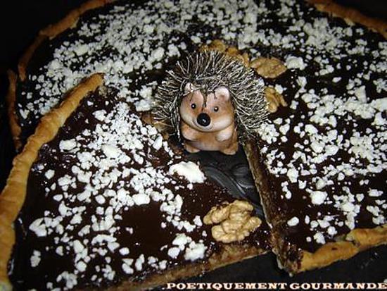 recette TARTE AUX NOIX ET DEUX CHOCOLATS