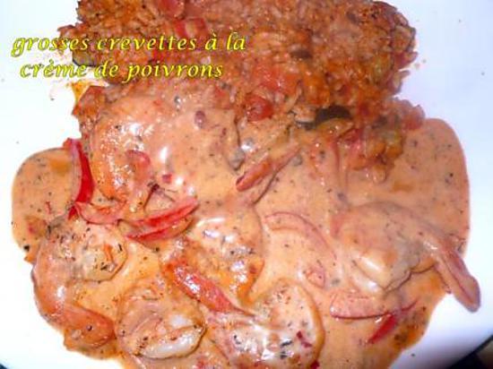 recette grosses crevettes à la crème de poivrons