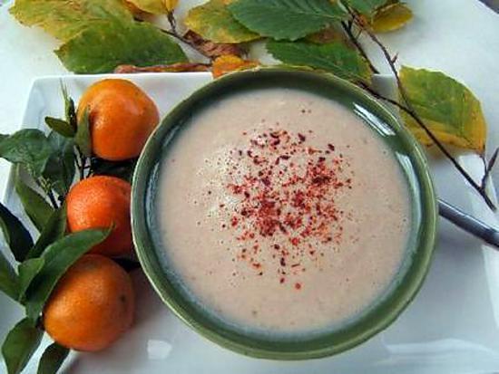 recette Crème de poires et châtaignes au piment d'Espelette version salée