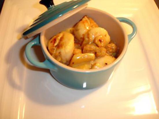 Recette de ma cassolette de st jacques curry crevettes - Saint jacques au curry ...