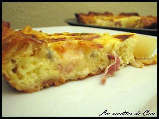 recette Quiche sucrée-salée au roquefort & poires et jambon fumé