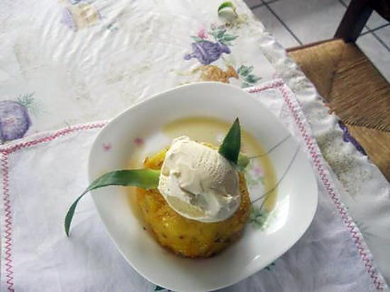 recette CHAUD FROID ANANAS GLACE VANILLE