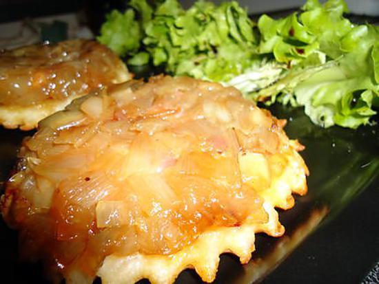 recette tarte tatin aux échalottes,lardons et chèvres