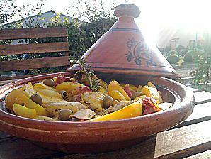 recette Tajine de poulet aux pommes de terres et olives