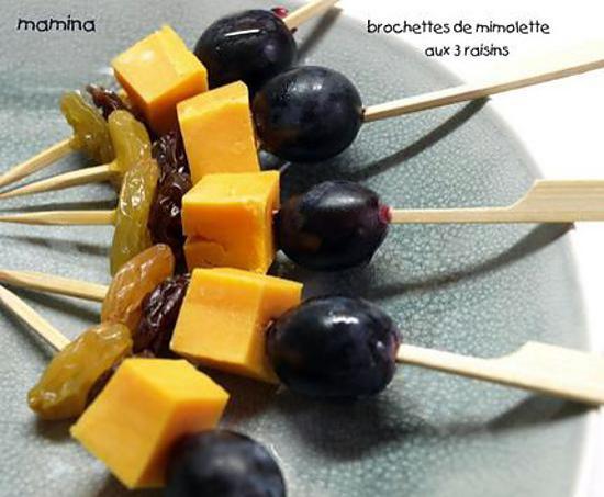 recette de brochettes de mimolette aux trois raisins. Black Bedroom Furniture Sets. Home Design Ideas