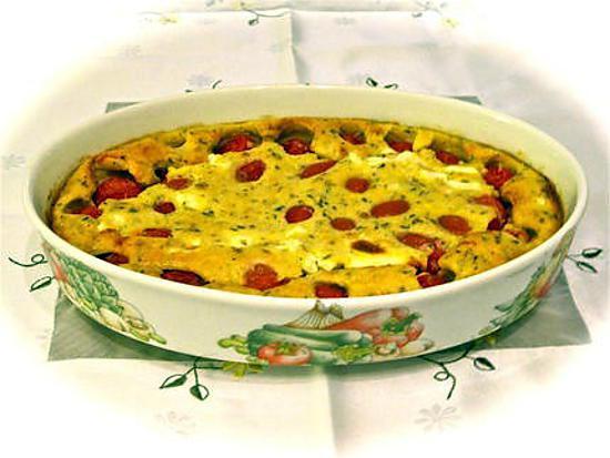 recette CLAFOUTIS AUX TOMATES CERISES