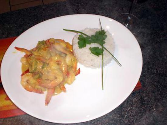 recette Curry de crevettes et poivrons au lait de coco