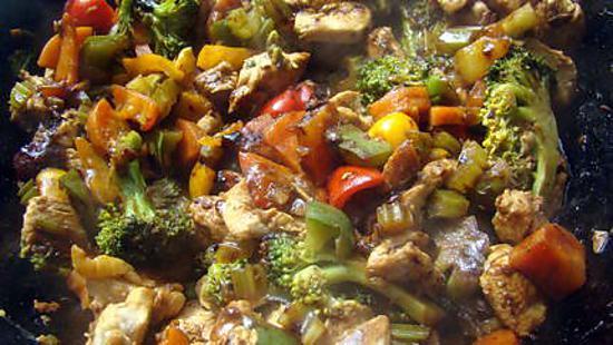 recette Sauté de poulet et légumes à l'aigre-doux