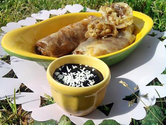 recette Nems banane chocolat et son coulis de chocolat à la noix de coco