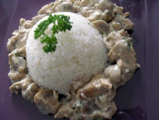 recette Emincé de poulet aux champignon et à la crème