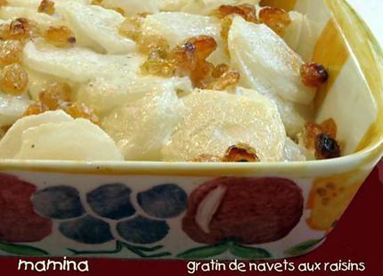 recette Gratin de navets aux raisins