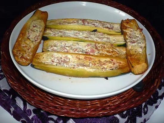 recette Courgettes farcies Jambon/chèvre