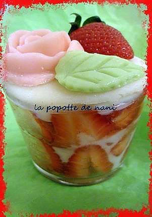 recette verrine de fraisier express à la rose