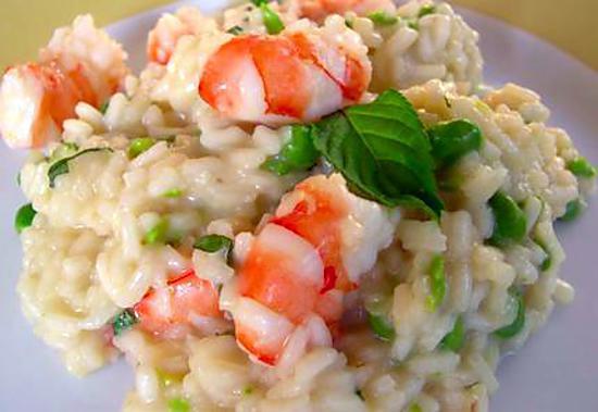 recette Risotto light de crevettes, oignon de printemps, basilic et citron