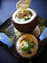 recette Curry de poulet  rapide en coque de noix de coco