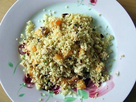 recette Taboulé au poulet grillé, melon et pignons de pin
