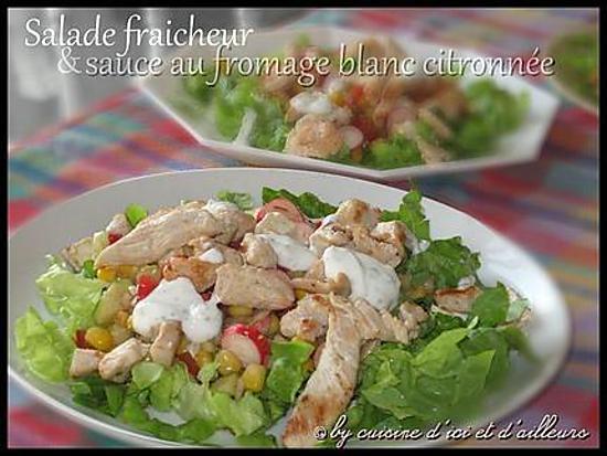 recette de salade fraicheur sa sauce au fromage blanc citronn e. Black Bedroom Furniture Sets. Home Design Ideas