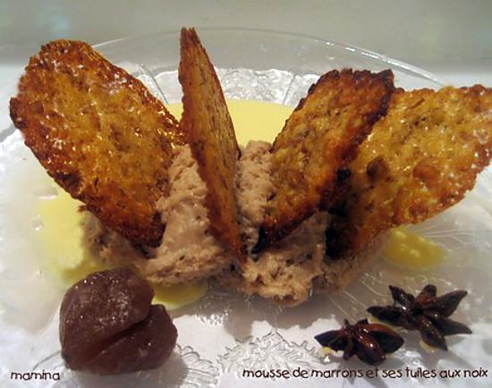 recette Mousse de marrons et ses tuiles aux noix