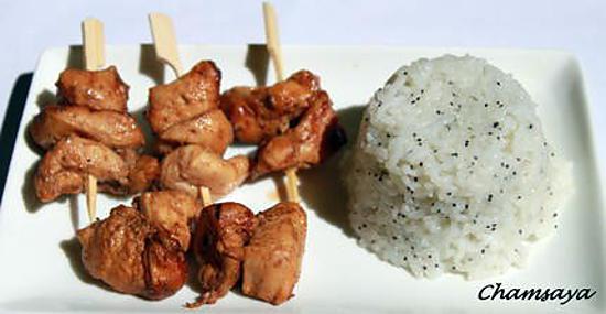 recette Poulet yakitori et son riz aux graines de pavot