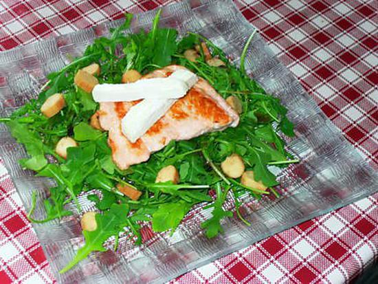 recette Queue de Saumon sur Lit de Roquette au St Marcellin