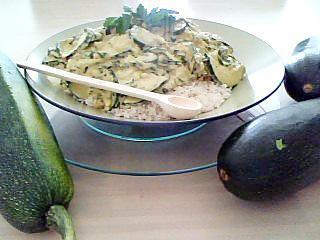 recette Courgettes du jardin à la créme fraiche et curry