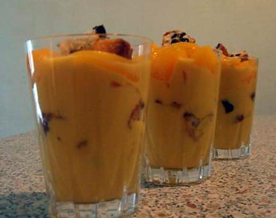 recette Verrines pêches, crème anglaise, pepito :P