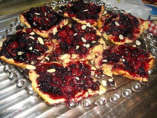 recette Carrés sablés aux fruits rouges......