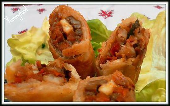 recette Cigares (ou briouates) crevettes-légumes à la sauce soja