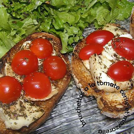 recette bruschettas à la tomate cerise et mozzarella