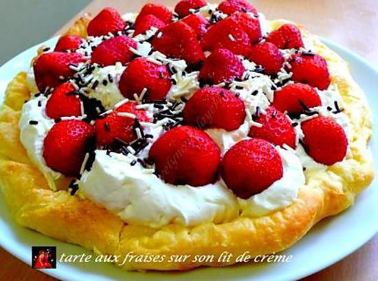 recette tarte aux fraises sur son lit de crème