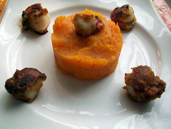 recette Saint-Jacques au spéculoos & sa purée de patate douce