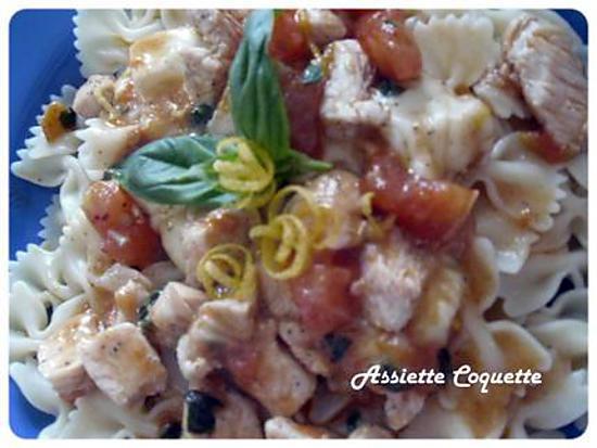 recette Farfalles Poulet Tomate Mozzarella Basilic