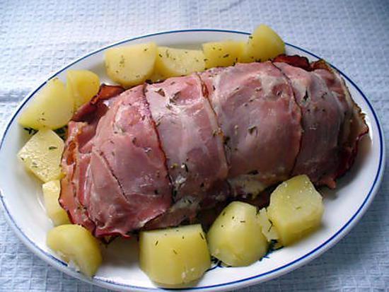 recette cuisse de dinde au lard fumé et aux pommes de terre