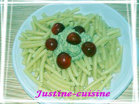recette macaronis à la tapenade de basilic
