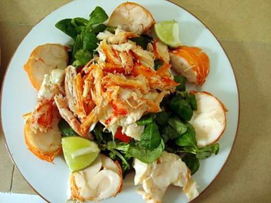 Recette de salade de homard ou langouste for Salade pour accompagner poisson