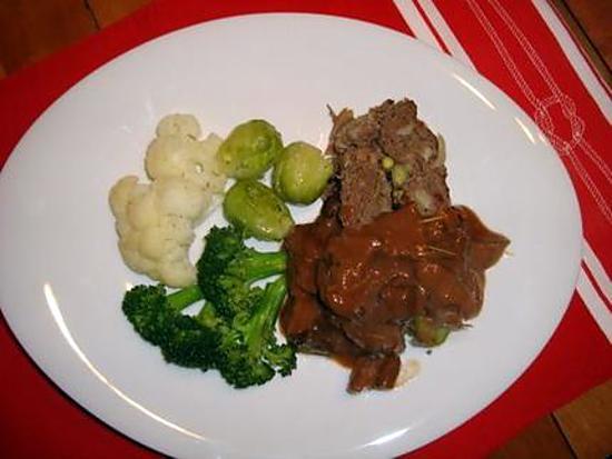 recette Pain de viande à l'orignal, sauce aux champigons sauvages