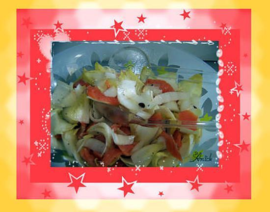 recette Salade d'endives , truite fumée et pignons de pin