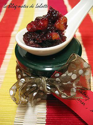recette Chutney cranberries, raisins, pommes et noix de Pécan