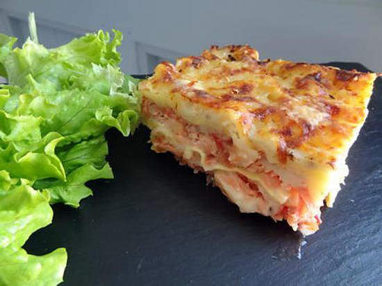 recette Lasagnes aux deux saumons et tomates concassées