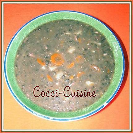 recette Soupe de lentilles aux lardons