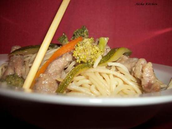 recette Wok de boeuf mariné au gingembre et petits légumes