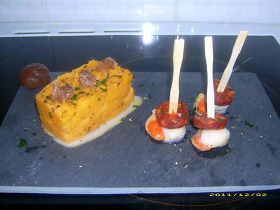 recette purée de butternut, marrons glacées et ses noix de saint-jaques au chorizo