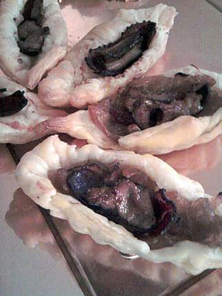 recette Barquettes aperitive à la confiture d'oignons fois gras et magret de canard séché